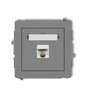 DECO Mechanizm gniazda komputerowego pojedynczego 1xRJ45 kat. 6 8-stykowy Szary mat Karlik 27DGK-3