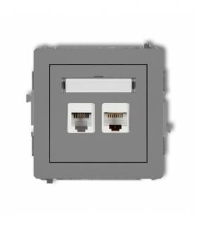 DECO Mechanizm gniazda telefonicznego pojedynczego 1xRJ11 + komputerowego pojedynczego 1xRJ45 kat. 5e 8-stykowy beznarzędziowe S