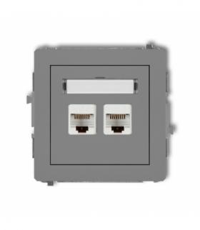 DECO Mechanizm gniazda komputerowego podwójnego 2xRJ45 kat. 6 8-stykowy Szary mat Karlik 27DGK-4