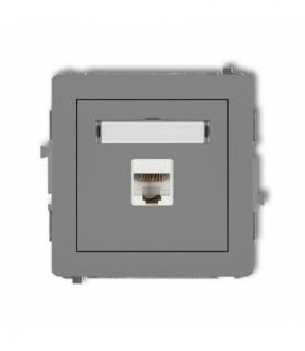 DECO Mechanizm gniazda komputerowego pojedynczego 1xRJ45 kat. 6 ekranowane 8-stykowy Szary mat Karlik 27DGK-5