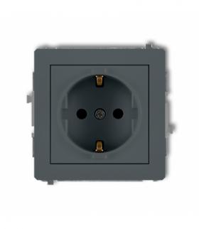 DECO Mechanizm gniazda pojedynczego z uziemieniem 2P+Z SCHUKO (przesłony torów prądowych) Grafitowy mat Karlik 28DGP-1sp