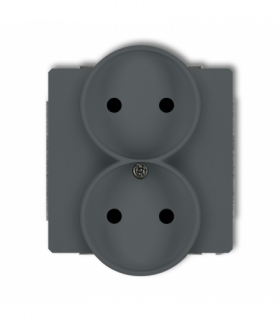 DECO Mechanizm gniazda podwojnego do ramki DECO Soft bez uziemienia 2x2P (przesłony torów prądowych) Grafitowy mat Karlik 28DGPR