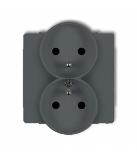 DECO Mechanizm gniazda podwojnego do ramki DECO Soft z uziemieniem 2x(2P+Z) (przesłony torów prądowych) Grafitowy mat Karlik 28D