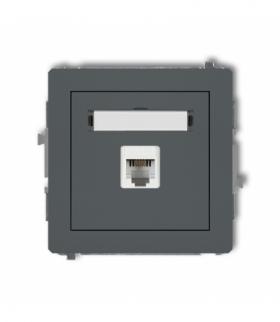 DECO Mechanizm gniazda telefonicznego pojedynczego 1xRJ11 4-stykowy beznarzędziowe Grafitowy mat Karlik 28DGT-1