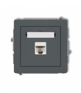 DECO Mechanizm gniazda komputerowego pojedynczego 1xRJ45 kat. 5e ekranowane 8-stykowy Grafitowy mat Karlik 28DGK-1e
