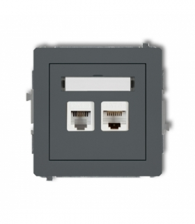 DECO Mechanizm gniazda telefonicznego pojedynczego 1xRJ11 + komputerowego pojedynczego 1xRJ45 kat. 5e 8-stykowy beznarzędziowe G