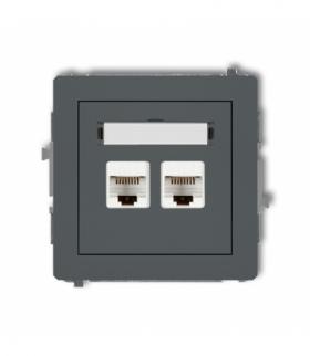 DECO Mechanizm gniazda komputerowego podwójnego 2xRJ45 kat. 6 8-stykowy Grafitowy mat Karlik 28DGK-4