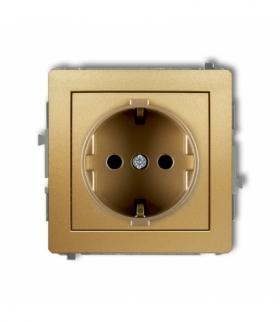 DECO Mechanizm gniazda pojedynczego z uziemieniem SCHUKO 2P+Z (przesłony torów prądowych) Złoty Karlik 29DGP-1sp