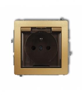 DECO Mechanizm gniazda bryzgoszczelnego z uziemieniem 2P+Z (klapka dymna przesłony torów prądowych) Złoty Karlik 29DGPB-1zdp