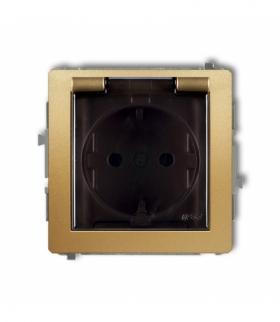 DECO Mechanizm gniazda bryzgoszczelnego z uziemieniem SCHUKO 2P+Z (klapka dymna przesłony torów prądowych) Złoty Karlik 29DGPB-1