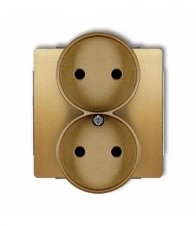 DECO Mechanizm gniazda podwojnego do ramki DECO Soft bez uziemienia 2x2P (przesłony torów prądowych) Złoty Karlik 29DGPRSO-2p