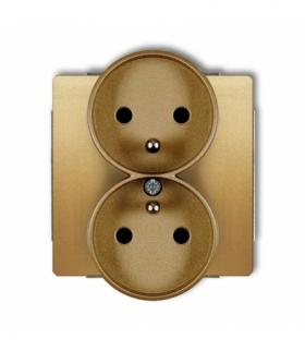 DECO Mechanizm gniazda podwojnego do ramki DECO Soft z uziemieniem 2x(2P+Z) (przesłony torów prądowych) Złoty Karlik 29DGPRSO-2z
