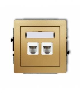 DECO Mechanizm gniazda telefonicznego podwójnego 2xRJ11 4-stykowy beznarzędziowe Złoty Karlik 29DGT-2