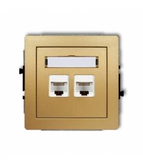 DECO Mechanizm gniazda komputerowego podwójnego 2xRJ45 kat. 6 8-stykowy Złoty Karlik 29DGK-4