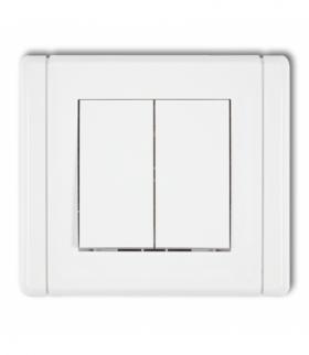 FLEXI Łącznik jednobiegunowy ze schodowym (dwa klawisze bez piktogramów osobne zasilanie) Biały Karlik FWP-10.21