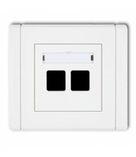 FLEXI Gniazdo multimedialne podwójne bez modułu (standard Keystone) Biały Karlik FGM-2P
