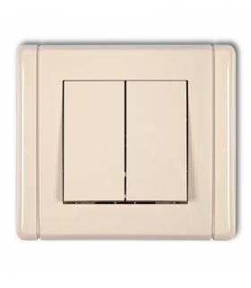 FLEXI Łącznik jednobiegunowy ze schodowym (dwa klawisze bez piktogramów wspólne zasilanie) Beżowy Karlik 1FWP-10.11