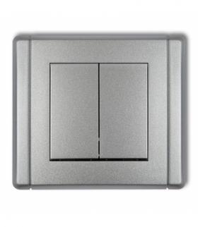 FLEXI Łącznik jednobiegunowy ze schodowym (dwa klawisze bez piktogramów wspólne zasilanie) Srebrny metalik Karlik 7FWP-10.11