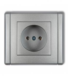 FLEXI Gniazdo pojedyncze bez uziemienia 2P (bez przesłon torów prądowych) Srebrny metalik Karlik 7FGP-1