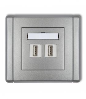 FLEXI Gniazdo podwójne 2xUSB-AA 3.0 Srebrny metalik Karlik 7FGUSB-6