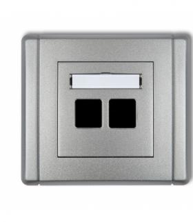 FLEXI Gniazdo multimedialne podwójne bez modułu (standard Keystone) Srebrny metalik Karlik 7FGM-2P