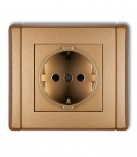 FLEXI Gniazdo pojedyncze z uziemieniem SCHUKO 2P+Z (przesłony torów prądowych) Złoty metalik Karlik 8FGP-1sp