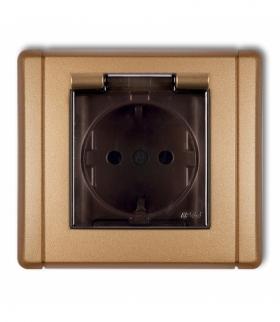 FLEXI Gniazdo bryzgoszczelne z uziemieniem SCHUKO 2P+Z (klapka dymna przesłony torów prądowych) Złoty metalik Karlik 8FGPB-1sdp
