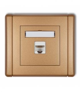 FLEXI Gniazdo komputerowe pojedyncze 1xRJ45 kat. 6 8-stykowe Złoty metalik Karlik 8FGK-3
