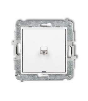 MINI Mechanizm łącznika zwiernego jednobiegunowego w stylu amerykańskim (jeden klawisz bez piktogramu) Biały Karlik MWPUS-4.1