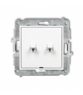 MINI Mechanizm łącznika zwiernego dwubiegunowego w stylu amerykańskim (dwa klawisze bez piktogramów osobne zasilanie) Biały Karl