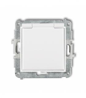 MINI Mechanizm gniazda bryzgoszczelnego z uziemieniem SCHUKO 2P+Z (klapka biała przesłony torów prądowych) Biały Karlik MGPB-1sp