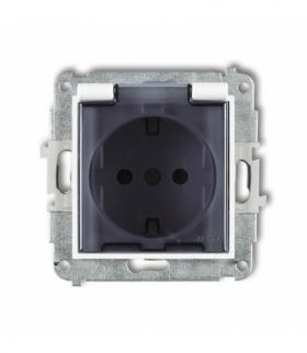 MINI Mechanizm gniazda bryzgoszczelnego z uziemieniem SCHUKO 2P+Z (klapka dymna przesłony torów prądowych) Biały Karlik MGPB-1sd