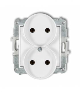 MINI Mechanizm gniazda podwójnego do ramki bez uziemienia 2x2P (bez przesłon torów prądowych) Biały Karlik MGPR-2