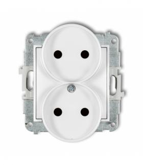 MINI Mechanizm gniazda podwójnego do ramki bez uziemienia 2x2P (przesłony torów prądowych) Biały Karlik MGPR-2p