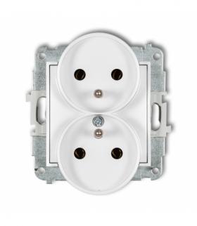 MINI Mechanizm gniazda podwójnego do ramki z uziemieniem 2x(2P+Z) (bez przesłon torów prądowych) Biały Karlik MGPR-2z