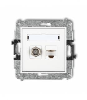 MINI Mechanizm gniazda antenowego poj. typu F (SAT) + gniazda komp. poj. 1xRJ45 kat. 5e 8-stykowy Biały Karlik MGFK