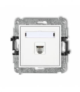 MINI Mechanizm gniazda telefonicznego pojedynczego 1xRJ11 4-stykowy beznarzędziowe Biały Karlik MGT-1