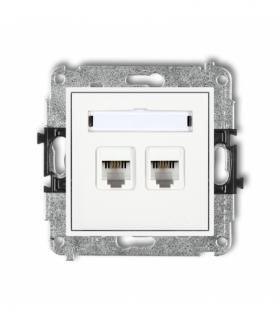 MINI Mechanizm gniazda telefonicznego podwójnego 2xRJ11 4-stykowy beznarzędziowe Biały Karlik MGT-2
