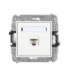 MINI Mechanizm gniazda komputerowego pojedynczego 1xRJ45 kat. 5e ekranowane 8-stykowy Biały Karlik MGK-1e