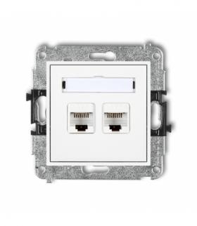 MINI Mechanizm gniazda komputerowego podwójnego 2xRJ45 kat. 5e 8-stykowy Biały Karlik MGK-2
