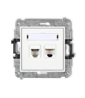 MINI Mechanizm gniazda telefonicznego poj. 1xRJ11 + komputer. poj. 1xRJ45 kat. 5e 8-stykowy beznarzędziowe Biały MGTK