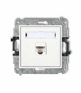 MINI Mechanizm gniazda komputerowego pojedynczego 1xRJ45 kat. 6 ekranowane 8-stykowy Biały Karlik MGK-5