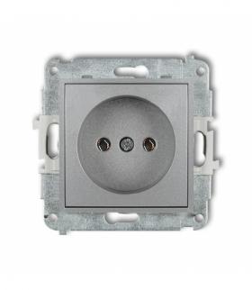 MINI Mechanizm gniazda pojedynczego bez uziemienia 2P (bez przesłon torów prądowych) Srebrny metalik Karlik 7MGP-1