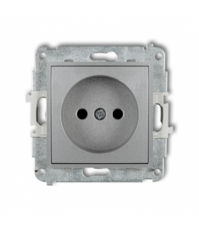 MINI Mechanizm gniazda pojedynczego bez uziemienia 2P (przesłony torów prądowych) Srebrny metalik Karlik 7MGP-1p
