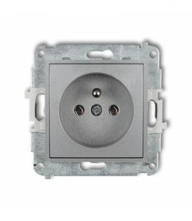 MINI Mechanizm gniazda pojedynczego z uziemieniem 2P+Z (bez przesłon torów prądowych) Srebrny metalik Karlik 7MGP-1z
