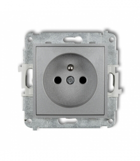 MINI Mechanizm gniazda pojedynczego z uziemieniem 2P+Z (przesłony torów prądowych) Srebrny metalik Karlik 7MGP-1zp