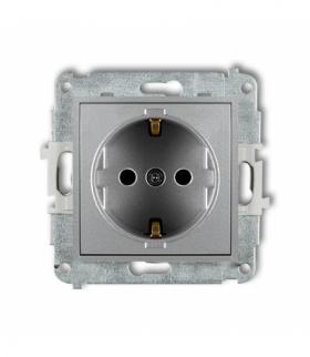MINI Mechanizm gniazda pojedynczego z uziemieniem SCHUKO 2P+Z (przesłony torów prądowych) Srebrny metalik Karlik 7MGP-1sp