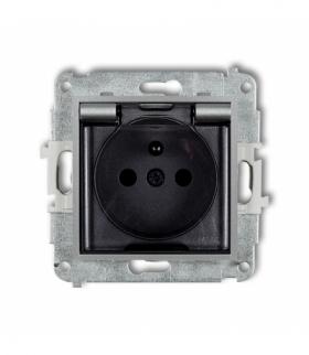 MINI Mechanizm gniazda bryzgoszczelnego z uziemieniem 2P+Z (klapka dymna przesłony torów prądowych) Srebrny metalik Karlik 7MGPB