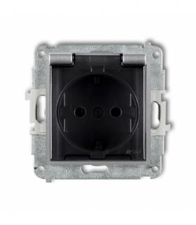 MINI Mechanizm gniazda bryzgoszczelnego z uziemieniem SCHUKO 2P+Z (klapka dymna przesłony torów prądowych) Srebrny metalik Karli