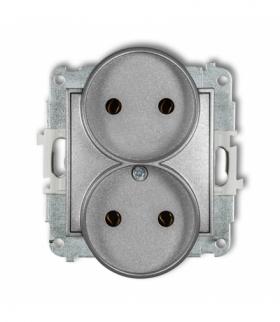 MINI Mechanizm gniazda podwójnego do ramki bez uziemienia 2x2P (bez przesłon torów prądowych) Srebrny metalik Karlik 7MGPR-2